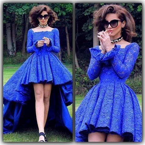 Bj Line Dress Blue royal blue vintage lace high low prom dresses sleeves