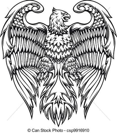 vector clipart of powerful eagle or griffin in heraldic