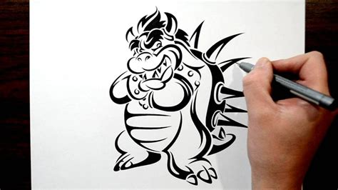 drawing bowser in a tribal tattoo design style youtube