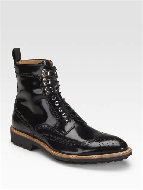 mens wingtip boots d g wingtip boots in black for lyst