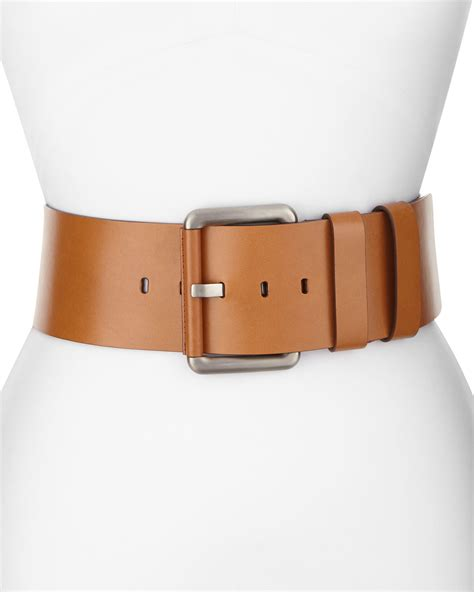 michael kors wide leather hip belt in brown lyst