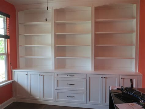 custom three column built in bookcase in white