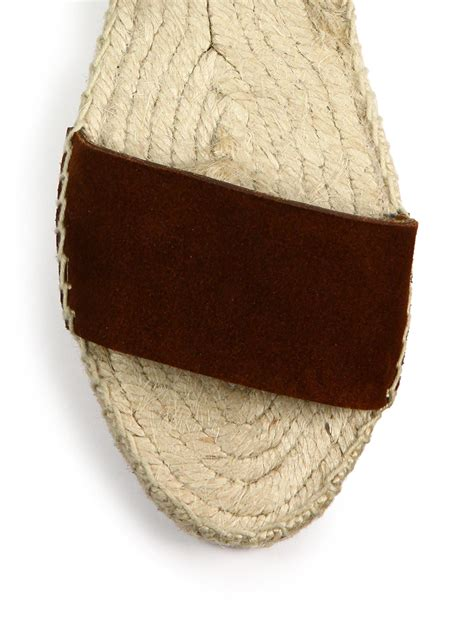 Flat Shoes Dm 98 1 lyst chlo 233 suede leather espadrille flat sandals in brown