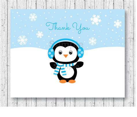 free printable winter note cards cute penguin thank you card penguin baby shower winter