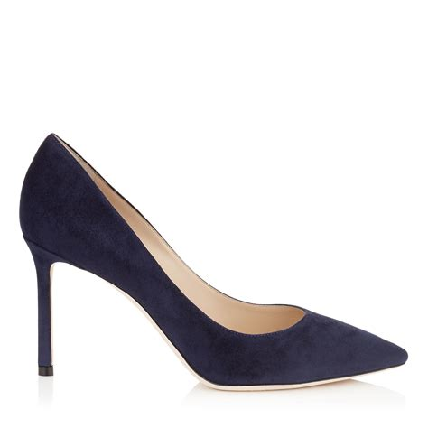 Top Five Navy Heels by Jimmy Choo Romy 85 Navy Suede Pointy Toe Pumps In Black