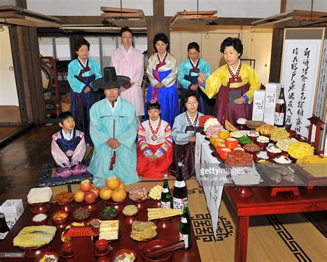 new year at korea south korean models demonstrate charye a traditional