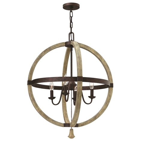 Circular Chandelier Lighting Quiky Distressed Wooden Gyroscope Ceiling Pendant Light On Iron Frame