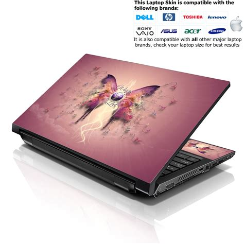 notebook netbook skin cover decal pink butterfly