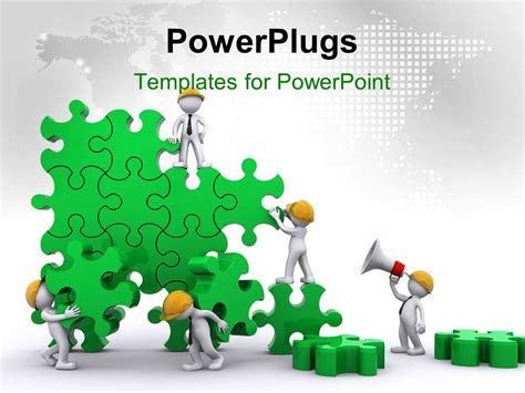 powerpoint template business team work building puzzles