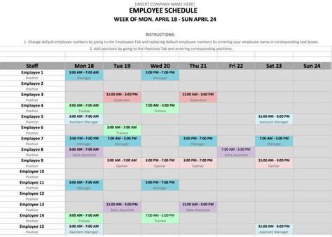 monthly employee schedule template monthly schedule template zip schedules