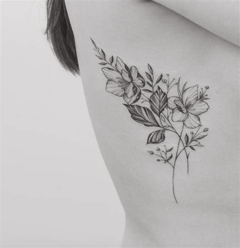 small black and white flower tattoos 60 must see tattoos for considering ink rib cage