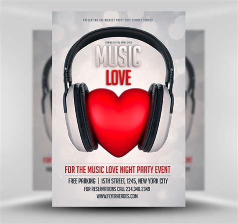 free music love club flyer template by saltshaker911