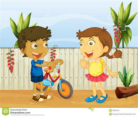 Cute House Plans by Two Children Talking Royalty Free Stock Photo Image 33695155