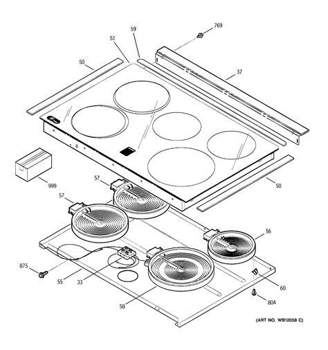 ge range parts diagram cooktop diagram parts list for model jsp42sk4ss ge parts