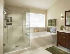 Sumptuous tub enclosures in Bathroom Transitional with Decorating A Townhouse next to Shower