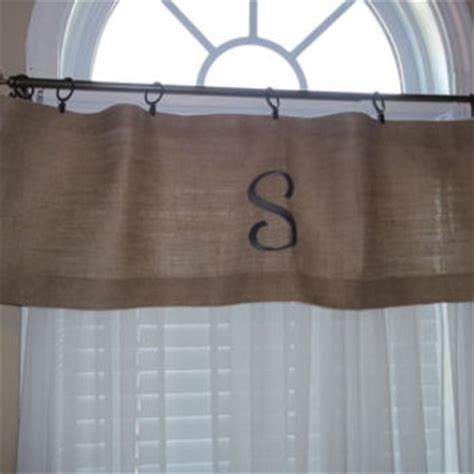 Monogram Window Curtains Burlap Embroidered Curtain Valance With From Mulberry Tree