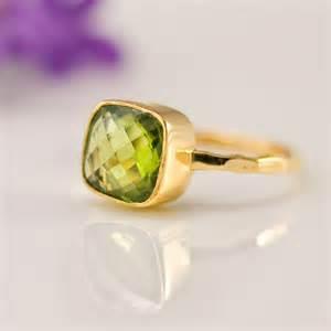 Peridot Cushion Cut Ring Cushion Cut Peridot Ring Bezel Ring Gemstone Ring