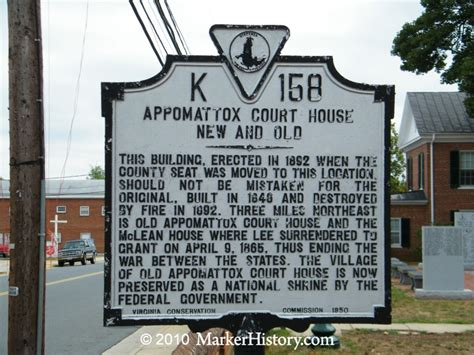 appomattox court house appomattox court house new and old k 158 marker history