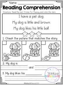 printable worksheets for kindergarten reading free reading comprehension set 2 beginning readers