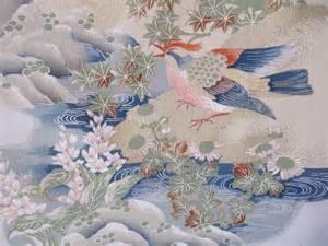 Drape Panel Japanese Kimono Silk Vintage Fabric Japanese Birds And
