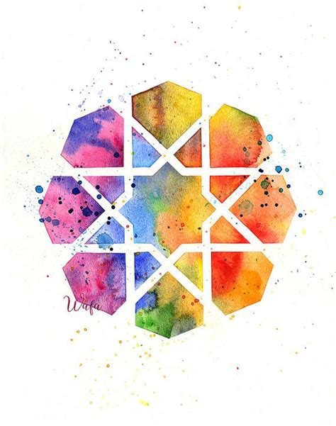 watercolor geometric pattern 8 pointed star islamic geometric pattern watercolor print