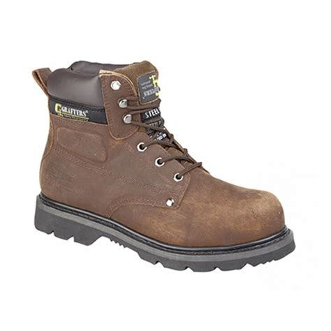Kickers Boot Leather Safety Brown grafters gladiator mens steel toe safety boots brown buy
