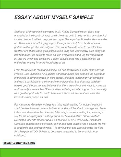 Essay Exles by Essay About Myself Sle Best Free Home Design Idea Inspiration