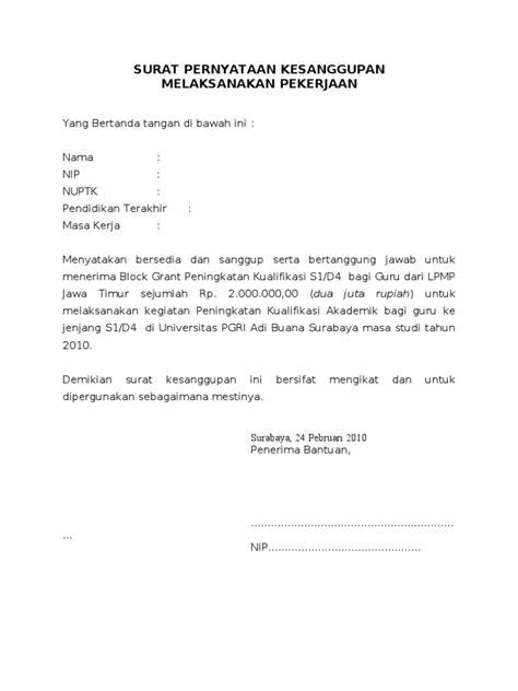 5 surat pernyataan kesanggupan