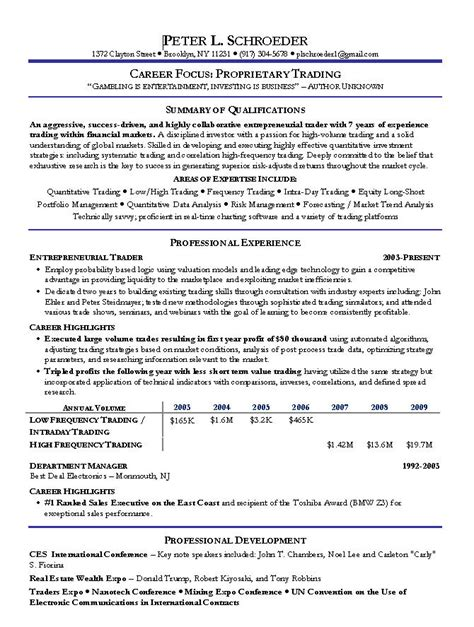 Investment Broker Sle Resume by Stock Broker Resume Sle Financial Services Resume Exles