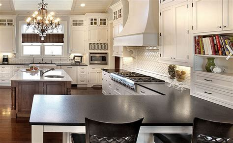flamed black countertop white backsplash backsplash