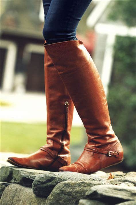 shoes boots boots brown leather boots knee high