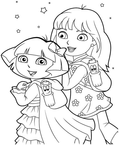 dora coloring pages download boots and dora printable coloring pages christmas