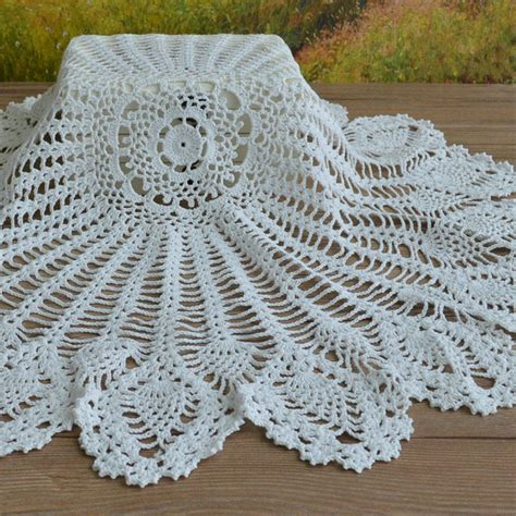 Handmade Lace Tablecloth - vintage lace crochet tablecloth table cover handmade
