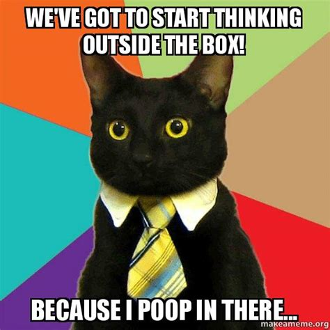Thinking Cat Meme - we ve got to start thinking outside the box because i