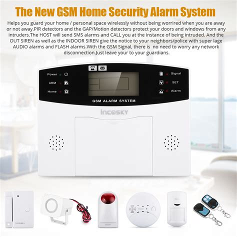 wireless security system lcd gsm sms autodial home office