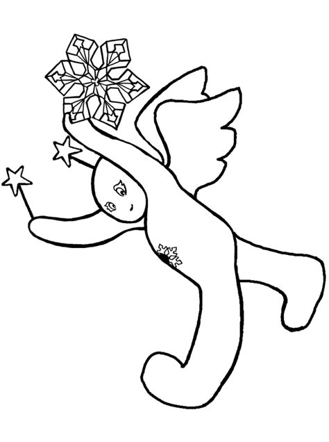 snow angel 14 black and white christmas coloring and craft