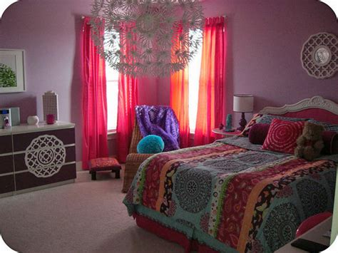 bohemian themed bedroom before and after a brightly colored bohemian tween