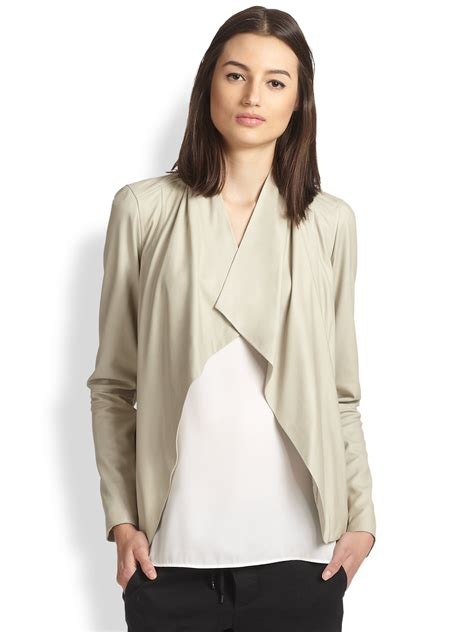 Vince Draped Leather Jacket In Natural Lyst