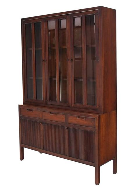 Mid Century Modern Fluted Doors Walnut China Cabinet Hutch at 1stdibs