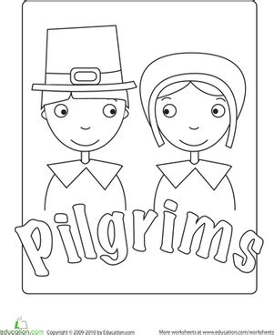 pilgrim coloring pages for kindergarten pilgrim worksheet education com
