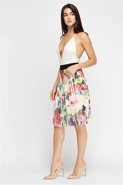 Floral Print Midi Pleated Skirt pleated floral midi skirt just 163 5