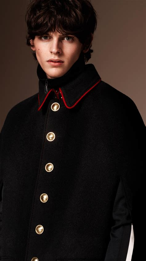 Wool Cashmere Blend Military Cape Coat Burberry | lyst burberry wool cashmere military cape in black for men