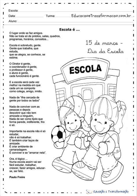 Atividades Dia da Escola para imprimir e colorir - 15 de Março