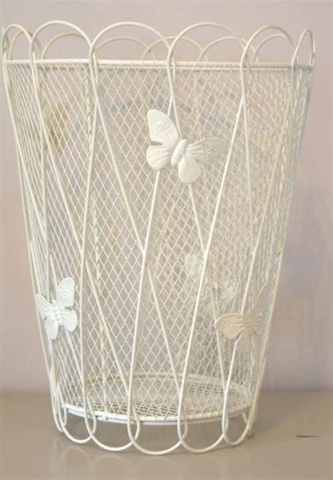 shabby cream metal ornate butterfly chic waste paper bin