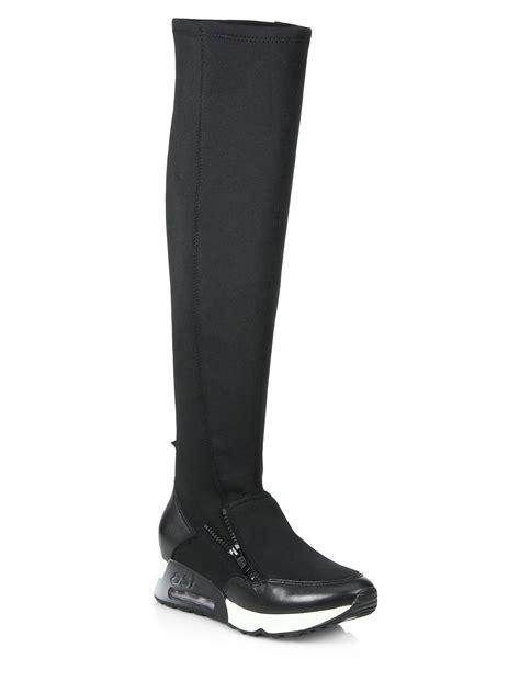 ash lynx knee high sneaker boots in black lyst