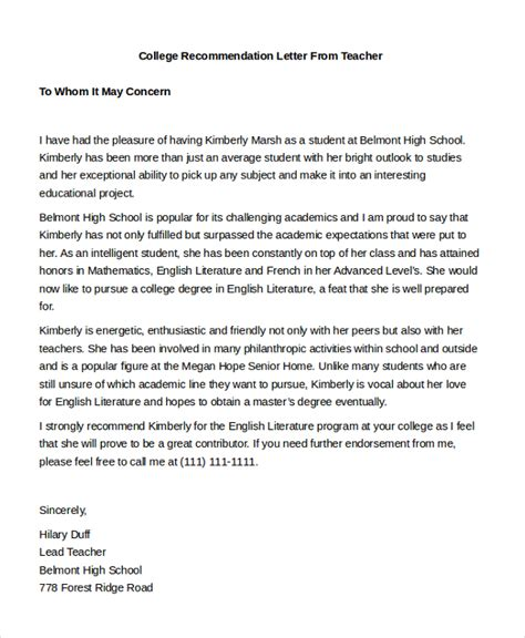 Recommendation Letter For A Mediocre Student Sle Letter Of Recommendation For Below Average Student