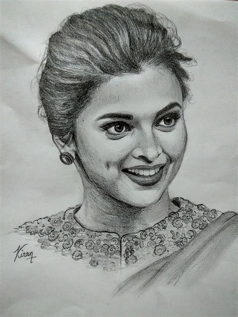 deepika padukone drawing portrait of deepika padukone by kiran on stars portraits 3