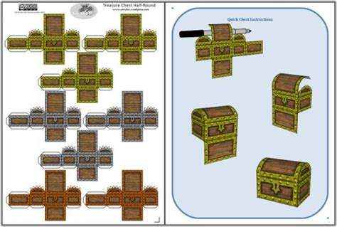 Treasure Chest Papercraft - papermau easy to build treasure chest paper model for