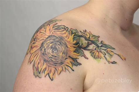 van gogh sunflower tattoo pete zebley tattoos