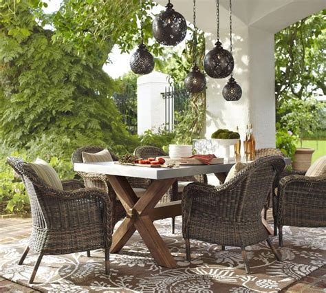Outdoor Dining Sets Pottery Barn Torrey All Weather Wicker Dining Armchair Traditional